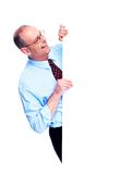 Mature businessman with banner. Royalty Free Stock Photos