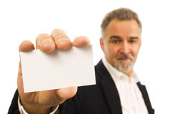 Mature businessman with blank business card Stock Photos
