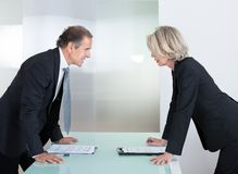 Mature Businessman And Businesswoman Fighting Royalty Free Stock Photos