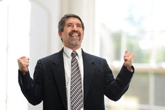 Mature businessman celebrating Royalty Free Stock Images