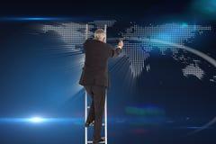 Mature businessman climbing career ladder Royalty Free Stock Image