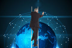Mature businessman climbing career ladder. Composite image of mature businessman climbing career ladder Stock Photo