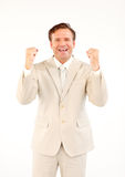 Mature businessman with fists Stock Photos