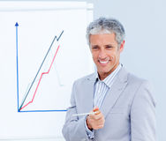 Mature businessman giving a presentation Royalty Free Stock Image