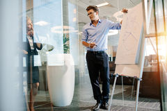 Mature businessman giving a presentation on a flipchart to colle Stock Image