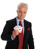 Mature Businessman Holding Cards Royalty Free Stock Image