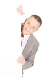 Mature businessman holding empty banner Royalty Free Stock Images