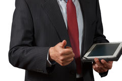 Mature businessman  holding a notebook approves decision and sho Stock Image