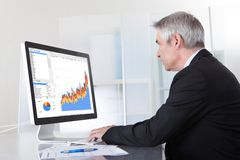 Mature businessman looking at computer. Showing Diagram Stock Image