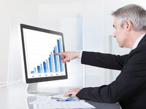 Mature businessman looking at computer. Showing Diagram Royalty Free Stock Images