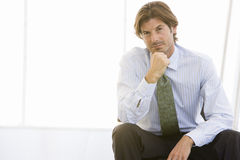 Mature Businessman Lost In Thoughts Stock Photos