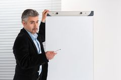 Mature businessman making presentation on flipchart. Royalty Free Stock Image