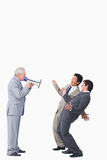 Mature businessman with megaphone Stock Photography