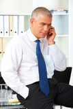 Mature businessman with phone Stock Photography