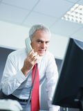 Mature businessman on the phone in office Stock Photo