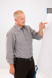 Mature businessman pointing at empty flip chart Stock Image