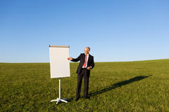 Mature Businessman Pointing At Flipchart On Field Stock Photos