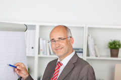 Mature Businessman Pointing At Flipchart Stock Photos