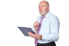 Mature businessman posing against white Stock Photo