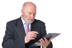 Mature businessman posing against white Stock Photo