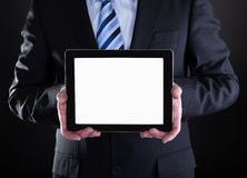 Mature Businessman Showing Digital Tablet Royalty Free Stock Image