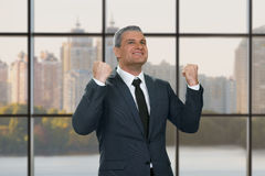 Mature businessman smiling happily. Royalty Free Stock Image
