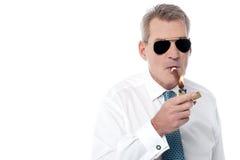 Mature businessman smoking a cigar Stock Image