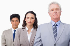 Mature businessman standing with colleagues Stock Photo