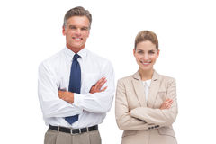 Mature businessman standing with his coworker Royalty Free Stock Photography