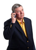 Mature Businessman Talking On Cell Phone, Isolated Royalty Free Stock Images