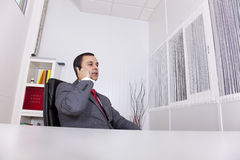 Mature businessman talking on the phone Stock Images