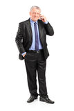 Mature businessman talking on a phone Royalty Free Stock Photo