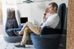 Mature businessman thinking about his work Royalty Free Stock Images