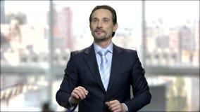 Mature businessman touching virtual screen. stock video