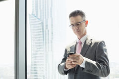 Mature businessman using cell phone by window Stock Photo