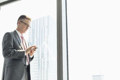 Mature businessman using cell phone by window Royalty Free Stock Images