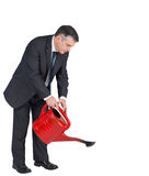 Mature businessman watering with red can Royalty Free Stock Photo