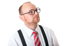 Mature businessman, white shirt, red tie and specs Stock Photo