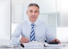 Mature businessman at work Royalty Free Stock Image
