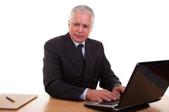 Mature businessman  working at computer Stock Photo