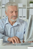 Mature businessman working on computer Royalty Free Stock Photos