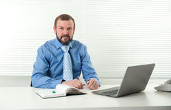 Mature businessman working on his laptop Stock Image