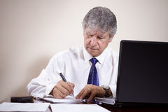 Mature businessman working with laptop in his office Stock Images