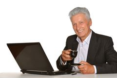 Mature businessman working with laptop Royalty Free Stock Photo