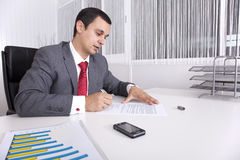 Mature businessman working at the office Royalty Free Stock Photography