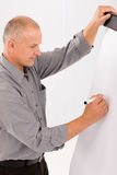 Mature businessman writing at empty flip chart Royalty Free Stock Photography