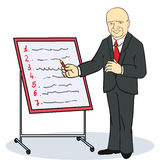 Mature businessman writing on a wall planner Stock Photos
