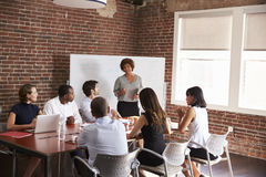 Mature Businesswoman Addressing Boardroom Meeting Royalty Free Stock Images