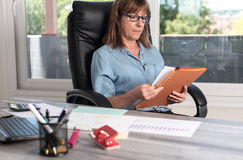 Mature businesswoman checking documents Royalty Free Stock Photo