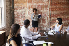 Mature Businesswoman Standing To Address Boardroom Meeting Stock Images